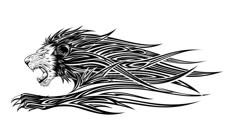Lion Tattoo. Vector illustration of tribal fierce lion tattoo