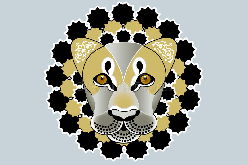 Lion tattoo. Beautiful illustration of lions head with fantasy pattern royalty free illustration