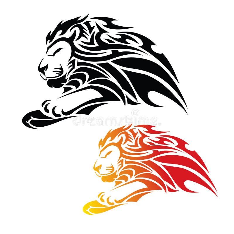 Lion tribal dans le saut illustration libre de droits