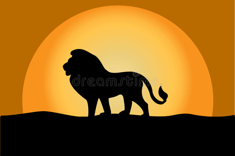 Lion at twilight royalty free illustration