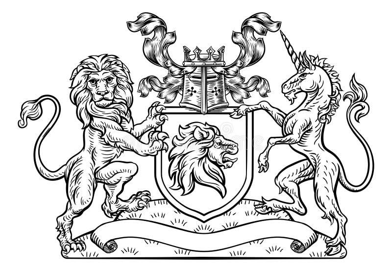 Lion Unicorn Crest Heraldic Shield Coat de brazos ilustración del vector