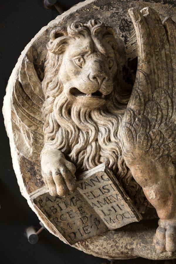 Lion vénitien dans le musée civique des ermites Padoue, photo libre de droits