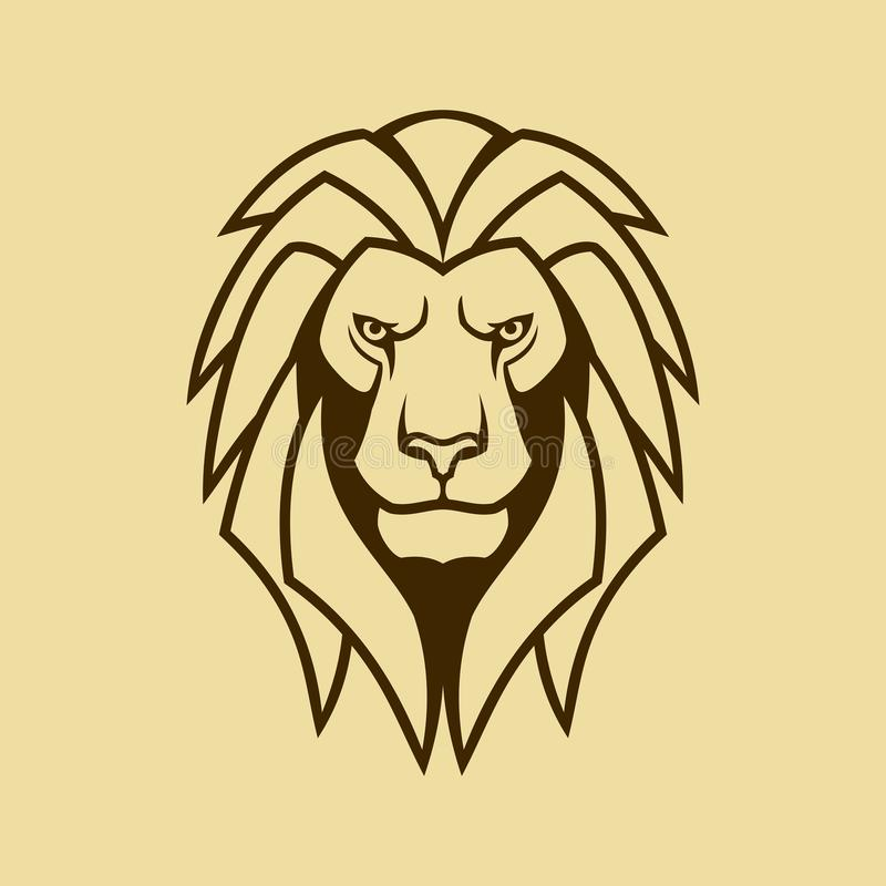 Lion vector icon. Lion head outline silhouette. Lion head with mane outline silhouette. Cut out vector icon of the  lion stock illustration