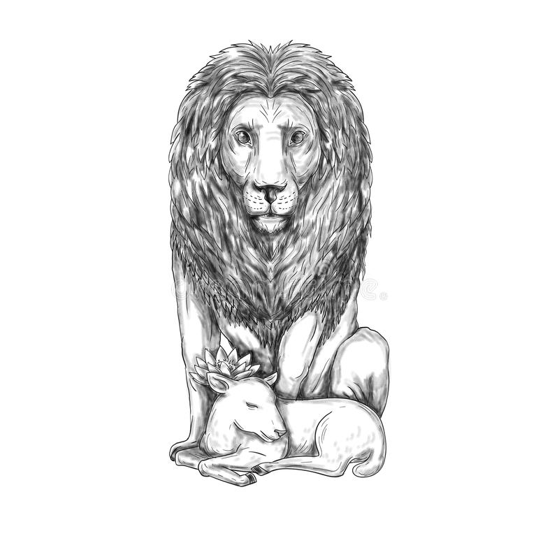 Lion Watching Over Lamb Tattoo vector illustratie