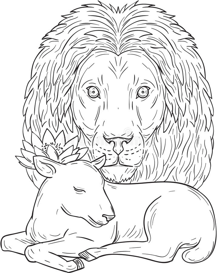 Lion Watching Over Sleeping Lamb-Tekening royalty-vrije illustratie