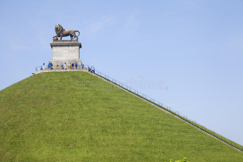 The Lion of Waterloo. The artificial mound symbol of the english victory against the army of the french Emperor Napoleon stock images