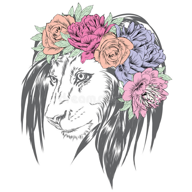 Free Lion Wearing A Crown Of Flowers. Royalty Free Stock Images - 84065739