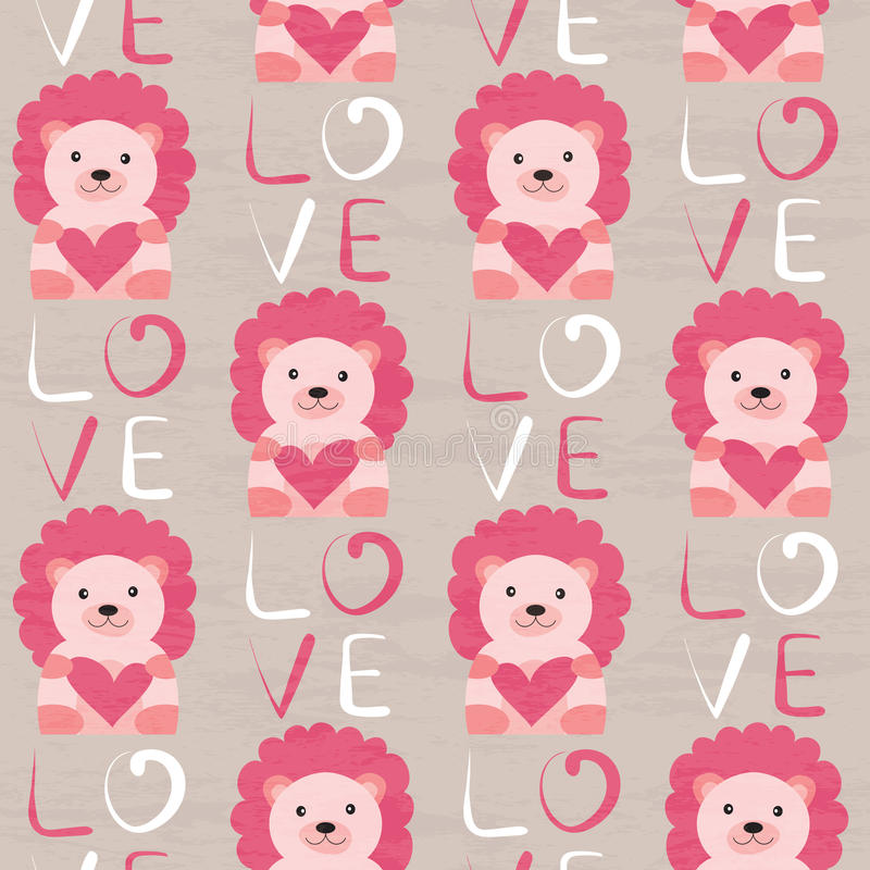 Free Lion With Heart Seamless Pattern Stock Images - 61560384