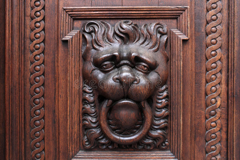 Lion on a wooden door royalty free stock photos
