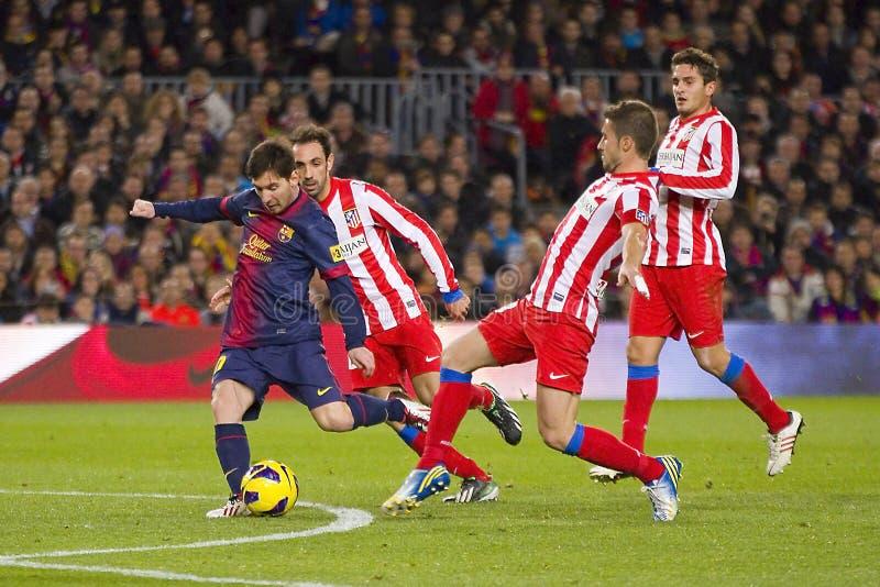 Lionel Messi in actie stock afbeelding