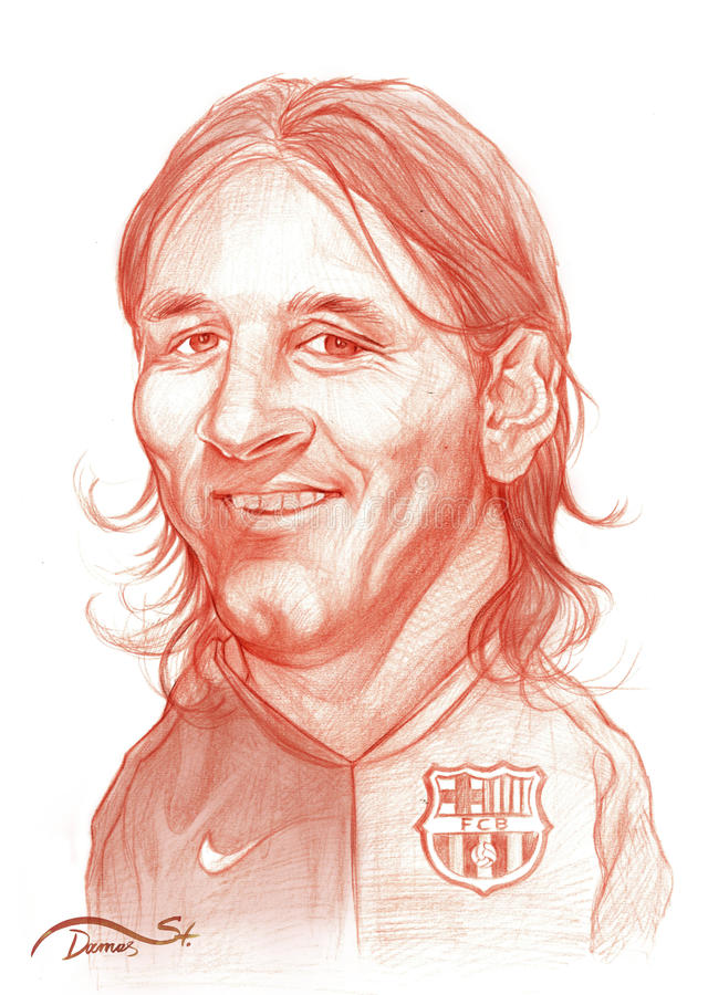 Lionel Messi Caricature Sketch. Lionel Messi caricature. Editorial Use Illustration for Newspapers, Magazines or Internet