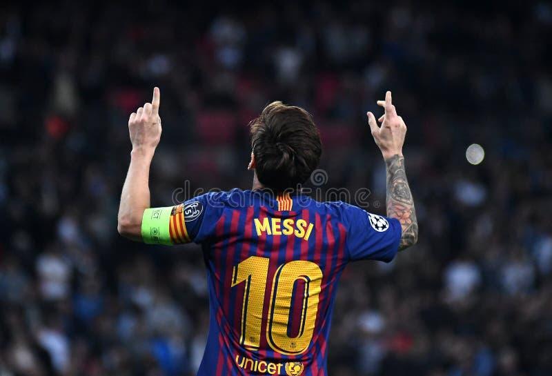Lionel Messi celebrazione dell'obiettivo immagine stock