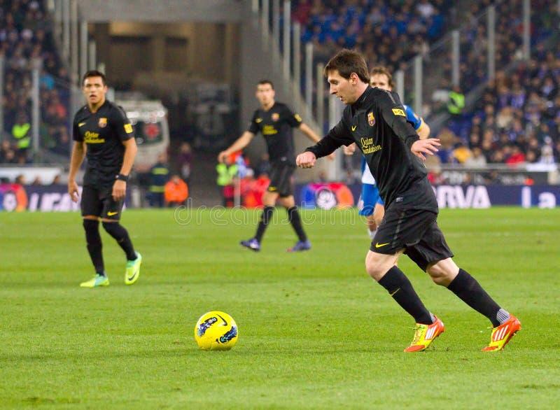 Lionel Messi na ação fotografia de stock