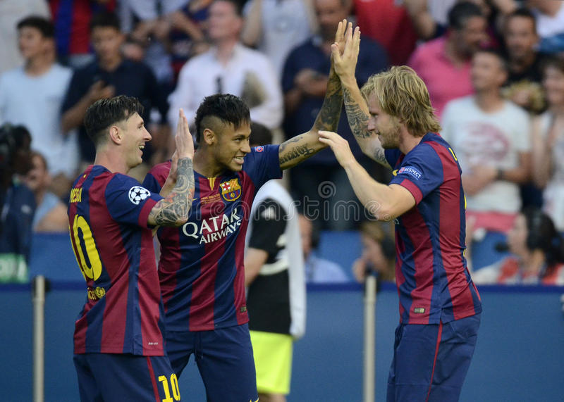 Lionel Messi, Neymar y Ivan Rakitic imagen de archivo