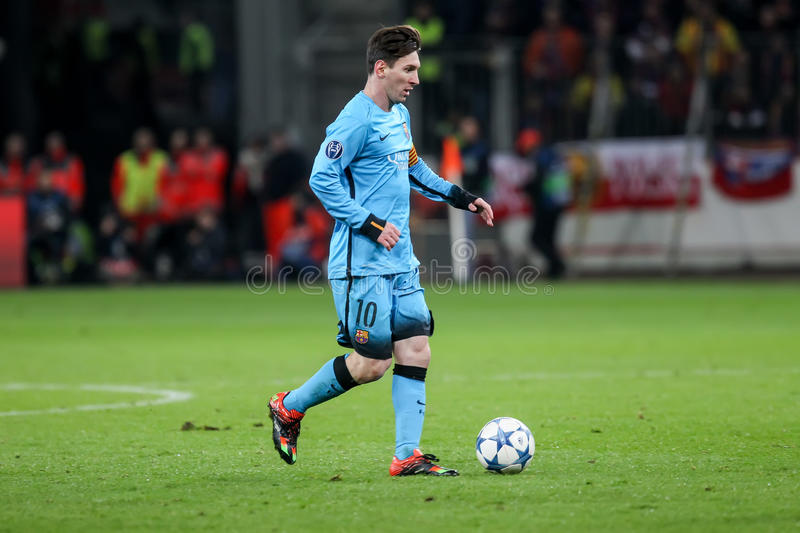 Lionel Messi during the UEFA Champions League game between Bayer. Leverkusen, Germany- December 9, 2015: Lionel Messi during the UEFA Champions League game royalty free stock image