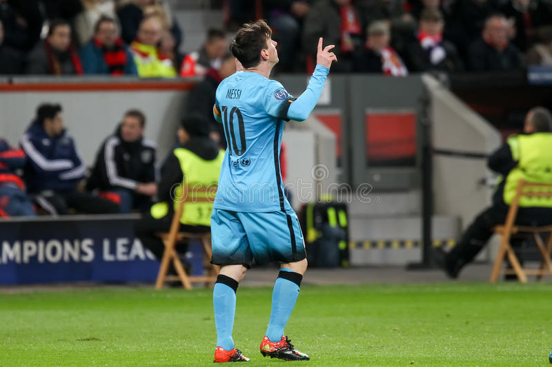 Lionel Messi during the UEFA Champions League game between Bayer. Leverkusen, Germany- December 9, 2015: Lionel Messi during the UEFA Champions League game royalty free stock images