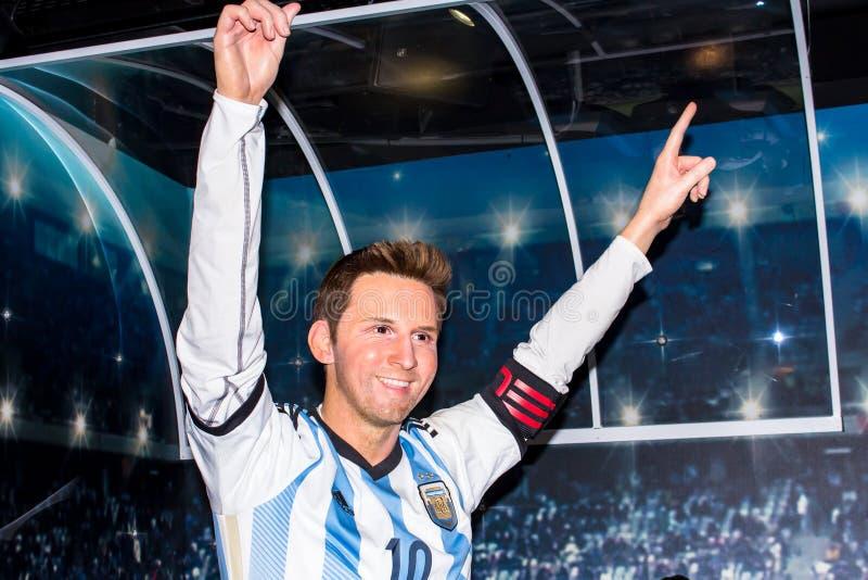 Lionel Messi vaxdiagram, museum Amsterdam för madam Tussauds royaltyfria bilder