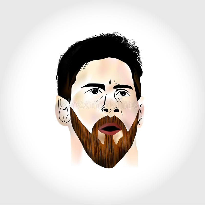 Lionel Messi Vector art. Lionel Messi the football player face Vector artwork vector illustration