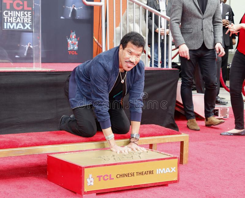 Lionel Richie. At  Hand And Footprint Ceremony held at the TCL Chinese Theatre in Hollywood, USA on March 7, 2018 stock images
