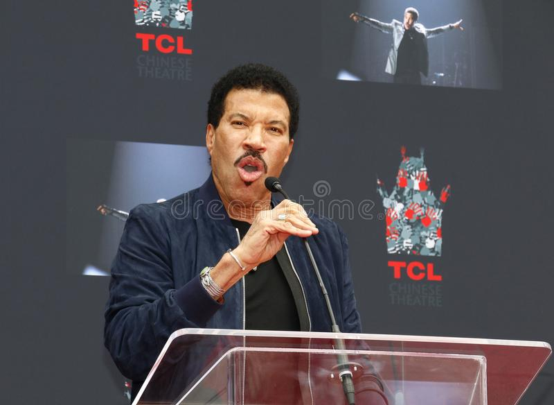 Lionel Richie. At  Hand And Footprint Ceremony held at the TCL Chinese Theatre in Hollywood, USA on March 7, 2018 stock image