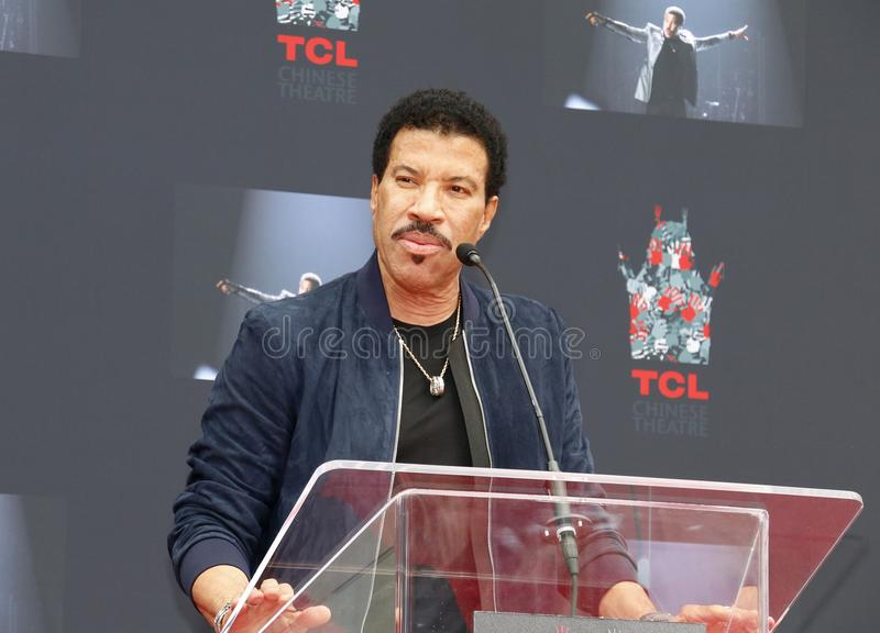 Lionel Richie. At  Hand And Footprint Ceremony held at the TCL Chinese Theatre in Hollywood, USA on March 7, 2018 royalty free stock image