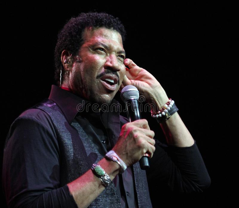 Lionel Richie performs in concert stock photography