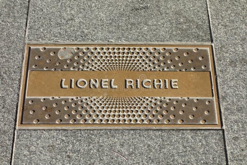 Lionel Richie Plaque arkivfoton