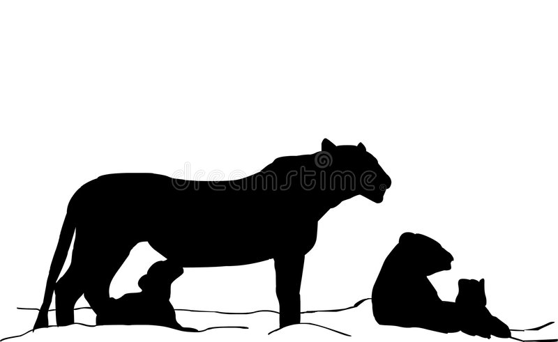 Lioness and baby stock illustration