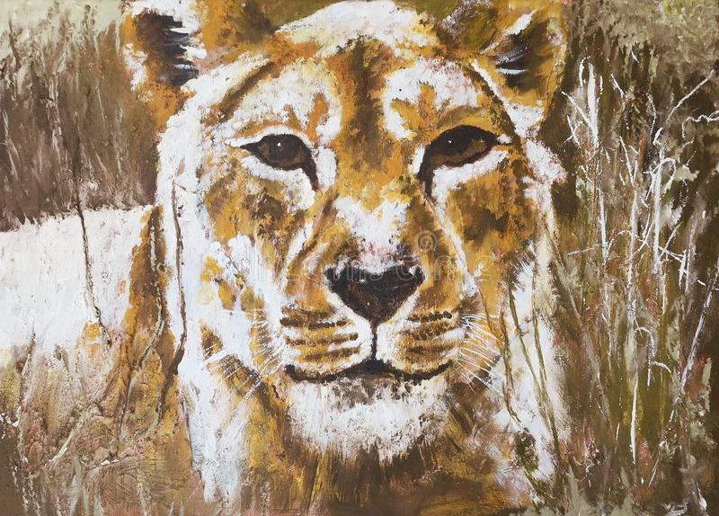 Lioness in steppe grass painting royalty free stock photography