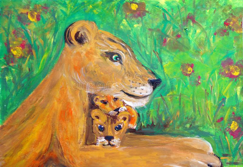 Lioness and two lion cubs. The lioness lies in a blooming savannah. Two lion cubs lie on its paws royalty free illustration