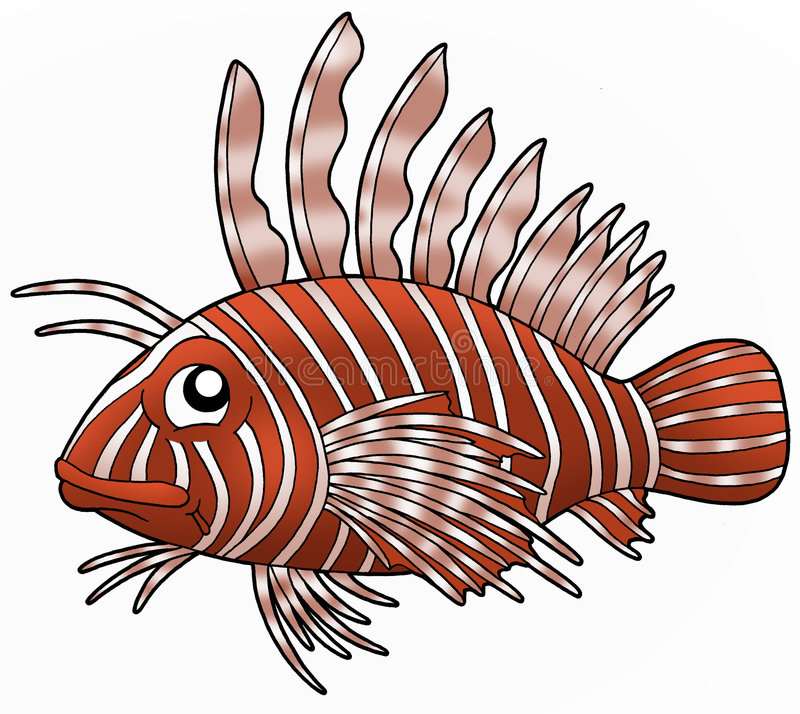 Lionfish. Cartoon illustration of a lionfish vector illustration
