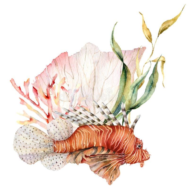 Lionfish di Watercolorv e composizione nell'alga Illustrazione subacquea dipinta a mano con laminaria e la barriera corallina royalty illustrazione gratis