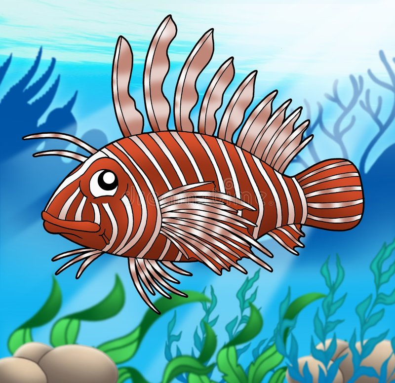 Lionfish in sea stock images