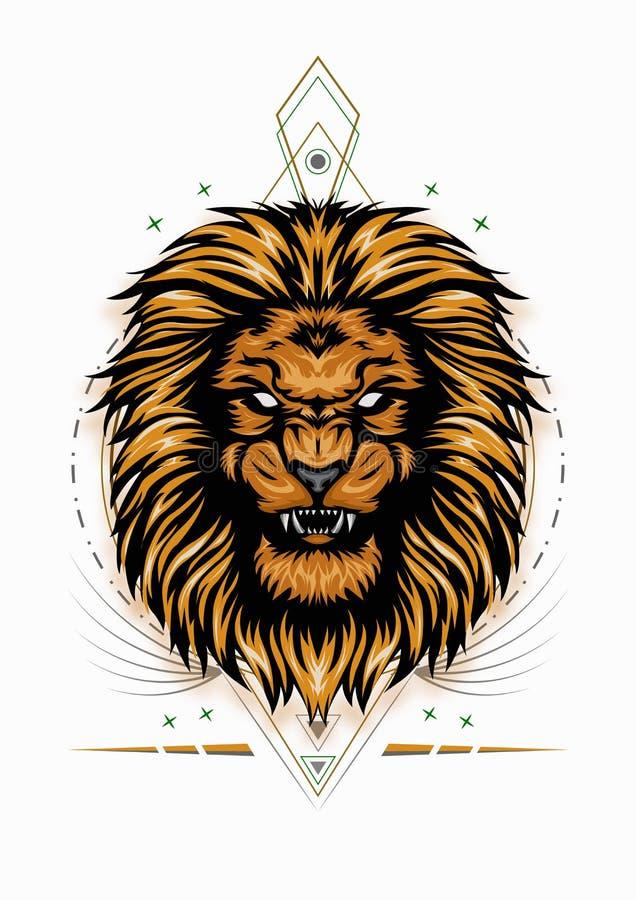 Lionhuvudet illustrerar en fullständig färg på den vita bakgrunden för t-skjortdesign arkivfoto