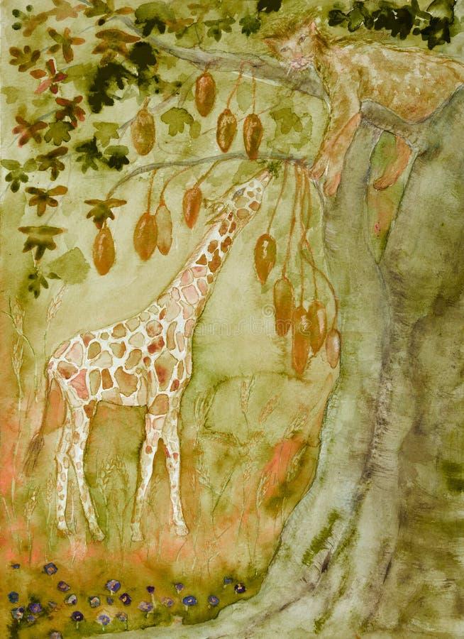 Lionne dormant dans un arbre de baobab avec une girafe de consommation illustration de vecteur