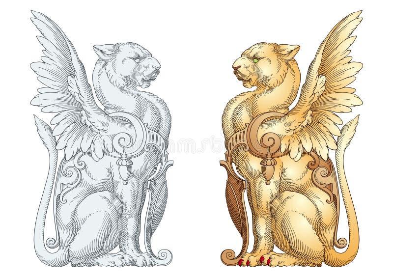 Lionne héraldique illustration stock
