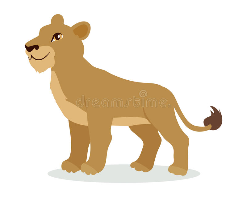 Lionne ou Lion Cub Cartoon Icon dans la conception plate illustration stock