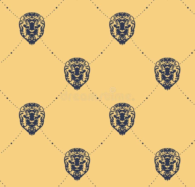 Lionpattern. Seamless vintage pattern with lion heads. Background vector illustration