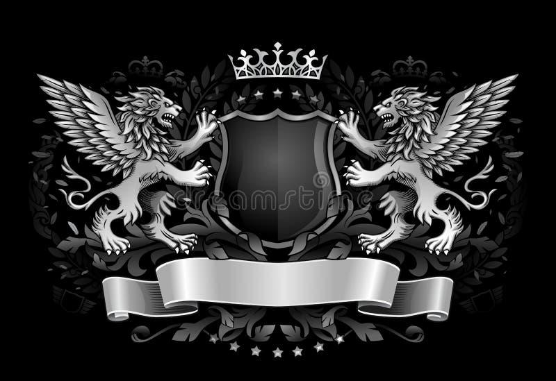 Lions à ailes tenant l'emblème d'obscurité de bouclier illustration stock