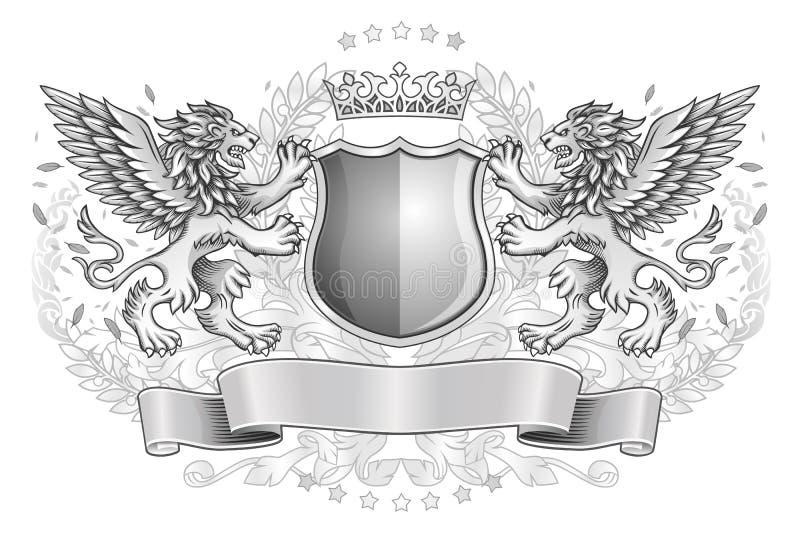 Lions à ailes tenant l'emblème de bouclier illustration stock