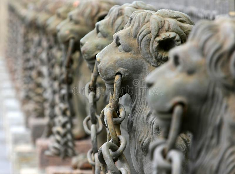 Lions 1. Group of sculptural images of lions royalty free stock photo