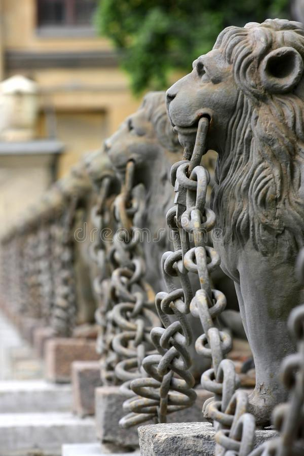 Lions. Group of sculptural images of lions royalty free stock photos