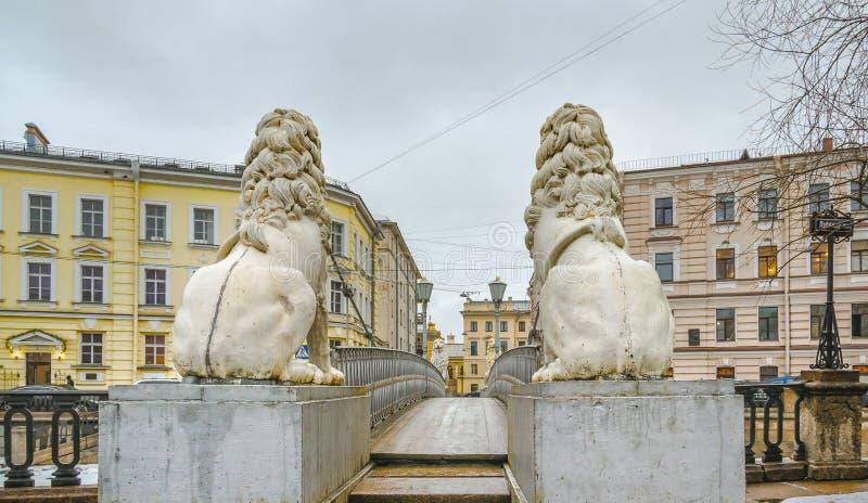 Lions Bridge. (Bridge of Four Lions) over the Griboedov Channel. St.-Petersburg, Russia stock photos