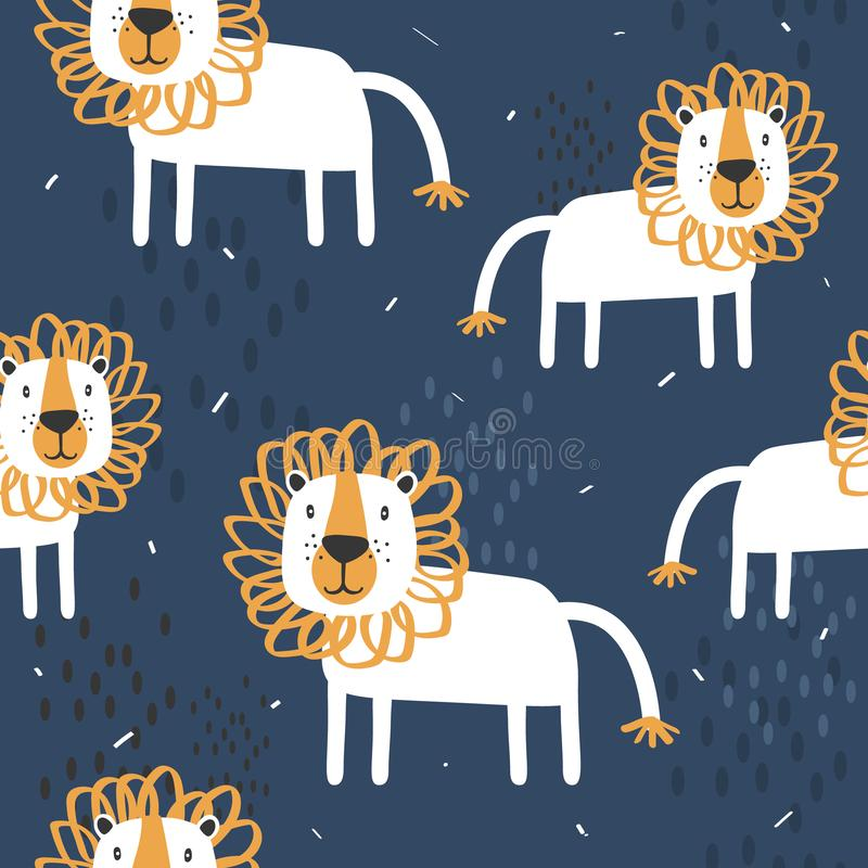 Lions, decorative cute background. Colorful seamless pattern with happy animals royalty free illustration