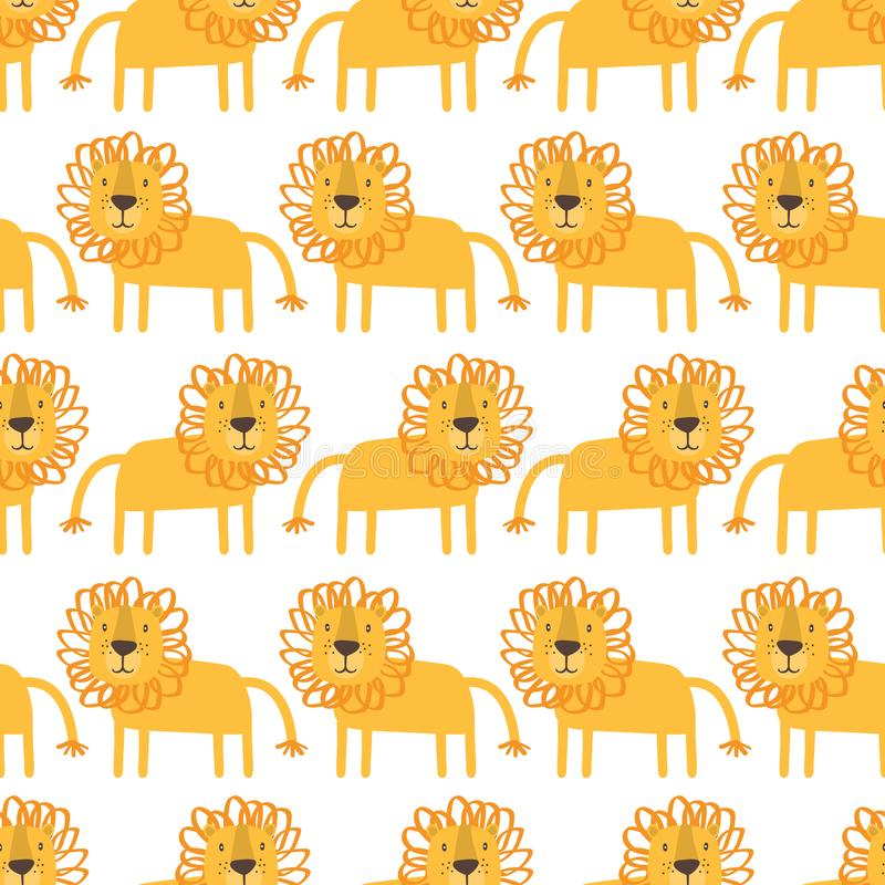 Lions, decorative cute background. Colorful seamless pattern with happy animals stock illustration