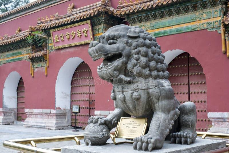 Lions en pierre à la porte du palais des enfants de Pékin images libres de droits