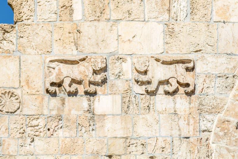 Lions en pierre, Lion Gate à Jérusalem, Israël photographie stock libre de droits