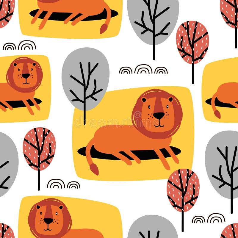 Lions et arbres mignons, modèle sans couture coloré Fond avec des animaux illustration libre de droits