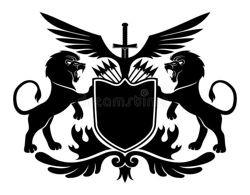Lions et bouclier illustration de vecteur