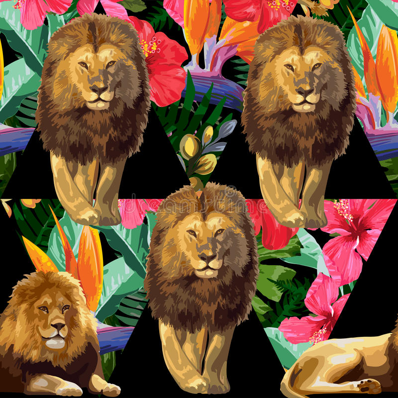 The lions and exotic flowers. royalty free illustration